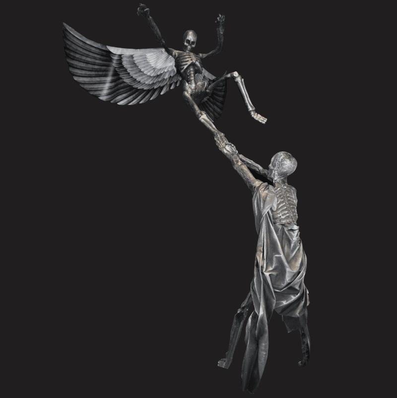 SKEL117-Flying Skeleton Sculpture